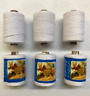 3 x HEAVY DUTY WHITE SPOOLS PARILON 100% POLYSTER SEWING THREAD 500 meters