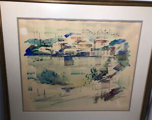 Vintage Alfred Birdsey Impressionist Watercolor Mid-Century Bahamas Painting