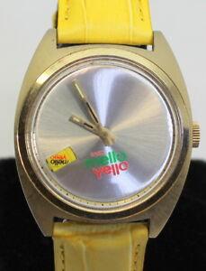 "RARE! Coca-Cola 17 Jewel Vintage ""Enjoy Mello Yello"" Men's Watch W Leather Band"