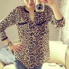 US Fashion Women's Chiffon Leopard T-shirt Long Sleeve Blouse Tee Casual Tops