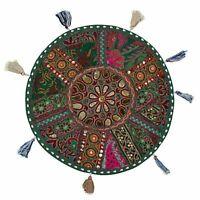 "18"" Cushion Bohemian Patchwork Floor Cushion Pouf Ottoman Vintage Indian Seating"