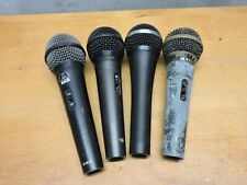 Box of four used working microphones. Audex, Fender, Akg