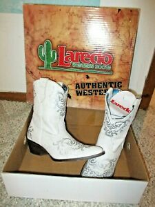 LAREDO White w/ Silver Mid Calf Cowgirl Cowboy Western Leather Boots 8M $150