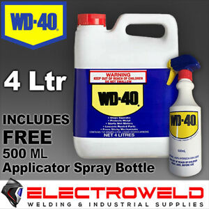 WD-40 x 4 Litre Lubricant Grease Oil Tub + Spray Bottle 4L Degreaser WD40, 62108