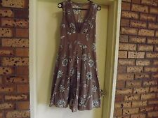 Jacqui E Stunning Bronze Coloured Silk/Cotton Knee Length Dress sz 8