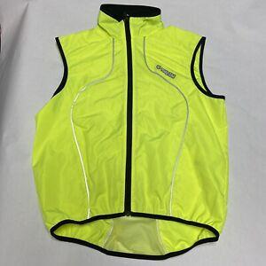 Pearl Izumi Mens Medium Neon Yellow Cyling Vest Full Zip Sleeveless Mesh Back