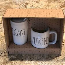 Rae Dunn WEEKDAY Travel Tumbler WEEKEND Coffee Mug Tea Cup New Box Set Of 2 LLB