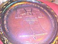 LIBERTY BELL, Iridescent BLUE PURPLE Plate Made By Fostoria