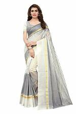 Women's Designer Synthetic Saree With Blouse Piece(white)