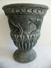 VINTAGE MID CENTURY DANISH POTTERY VASE URN BULLS AND DOGS SCANDINAVIAN CERAMIC