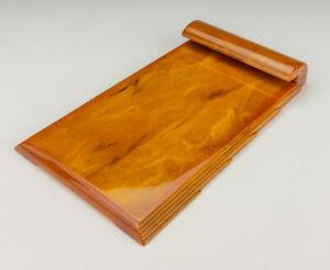 Vintage Carvacraft - Amber Phenolic Resin Bakelite Note Pad Holder - Art Deco