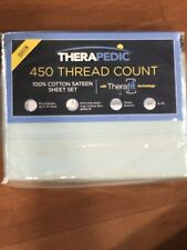 Therapedic 450 Thread Count Cotton Sateen Therafit Queen Sheet Set In Blue