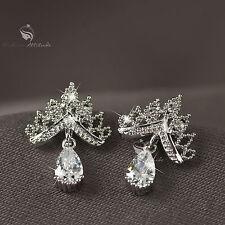 18k gold gp made with SWAROVSKI crystal stud crown earrings 925 silver