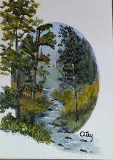 Aceo,miniature,acrylic,original, landscape, Forest Stream In Oval