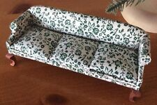 Miniature Queen Anne Sofa with 3 Cushions, Floral (Green)