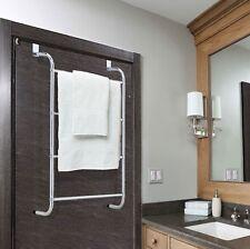 CHROME OVER DOOR 4 TIER TOWEL RAIL HANGER RACK TIDY BATHROOM KITCHEN
