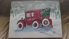 Original Hand Painted Christmas Scene-Unframed Painting- 1 Of a Kind-Locally