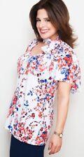 Kim & Co Floral Rhapsody print Brazil Knit Flared Top & Scarf - White multi- S/P
