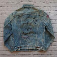 Vintage Levis Denim Trucker Jean Jacket Custom Rock Art 90s 80s