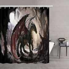 Dragon In Cave Fantasy Animal Waterproof Fabric Shower Curtain & 12 Hook 71 Inch