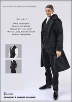 1/6 Scale british detective men long coat Sherlock agent suit for hot toys Body