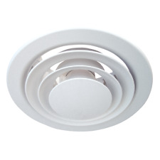 250MM ROUND PLASTIC ADJUSTABLE CEILING VENT AIR VALVE GRILLE WHITE