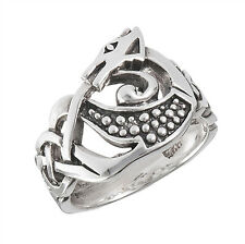 Oxidized Celtic Dragon Infinity Knot Ring .925 Sterling Silver Band Sizes 6-13