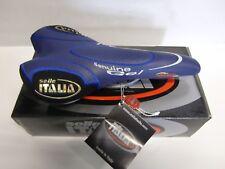 SELLA CICLO MTB SELLE ITALIA OKTAVIA GEL 200TELAIO MANGANESE 314g PELLE BLU