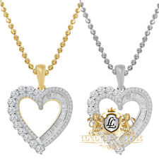 Real Genuine Sterling Silver 14K Gold Over Heart Love Mini Pendent Charm + Chain