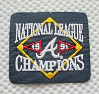 "NATIONAL LEAGUE CHAMPIONS EMBROIDERED PATCH 1991 ATLANTA BRAVES 3"" x 3 1/2"""