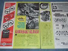 "1998 Kawasaki KLR650 Vintage Info Article ""Triple Threat..."""