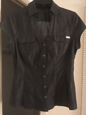 37569859d Express S/P Gray Button Down 100% Jean Cotton Short Sleeve V Neck Women's