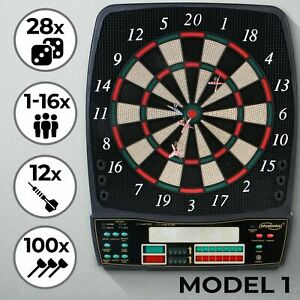 Dart-Scheibe Elektronisch 12 Soft Pfeile E-Dartboard Dartautomat Profi Dartspiel