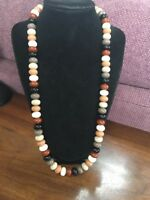 Vintage Bohemian Earthtone Wood Beaded Necklace Long Sweater Length