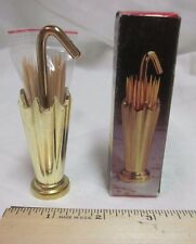 "Vtg Brass Umbrella TOOTHPICK Holder Made in Taiwan 3.5"" Tall New Old Stock W Box"