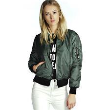 Classic Womens Bomber Jacket Vintage Flight Pilot Zip Up Biker Coat Outwear Top