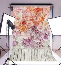 5x7ft Flowers Wood Floor Photography Backgrounds Vinyl Studio Photo Backdrops