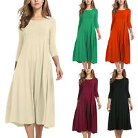 Women Lady Long Sleeve Shirt Long Maxi Boho Dress Casual Swing Skater Midi Dress