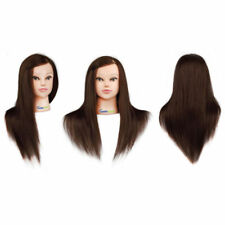 "100 Human Hair 22"" Salon Hairdressing Head Mannequin Clamp Training Doll Model"
