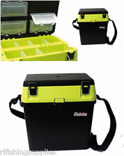 HI VIZ YELLOW SEA FISHING TACKLE SEAT BOX WITH CARRY STRAP CARP SEA BOAT FISHING