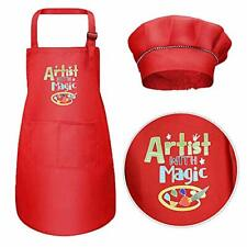 Red Kids Apron and Chef Hat Set Boys Girls Adjustable Aprons Kitchen Hat Cooking