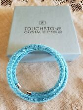 Swarovski crystal Touch Stone mesh Coil Bracelet gorgeous blue fit up to 7""