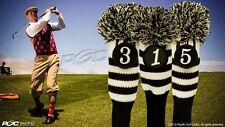 NEW 1 3 5 Set Vintage Pom Throwback Head Covers Sock Black Golf Club Headcovers