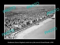 OLD LARGE HISTORIC PHOTO OF EASTBOURNE SUSSEX ENGLAND, VIEW OF THE TOWN c1950 1
