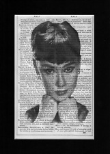 AUDREY HEPBURN a Striking Image Vintage Encyclopedia Art Print Upcycled & Unique