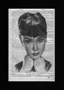 AUDREY HEPBURN Striking Image Vintage Encyclopedia Art Print Upcycled & Unique