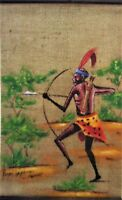 RARE EXCLUSIVE VINTAGE AFRICAN HUNTER SCROLL SISAL PAINTING UNDATED