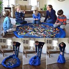 2 in 1 Spielteppich Tragbar Spielzeug Aufbewahrungstasche Teppich 150cm Blau