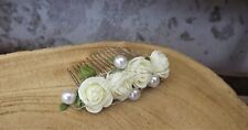 Blumen Haarkamm Kopfschmuck Metall creme Rosen Hochzeit