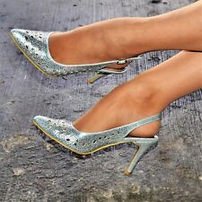 Womens Rhinestone High Heel Shoes Slingback Pointed Cut Out Details Evening Size
